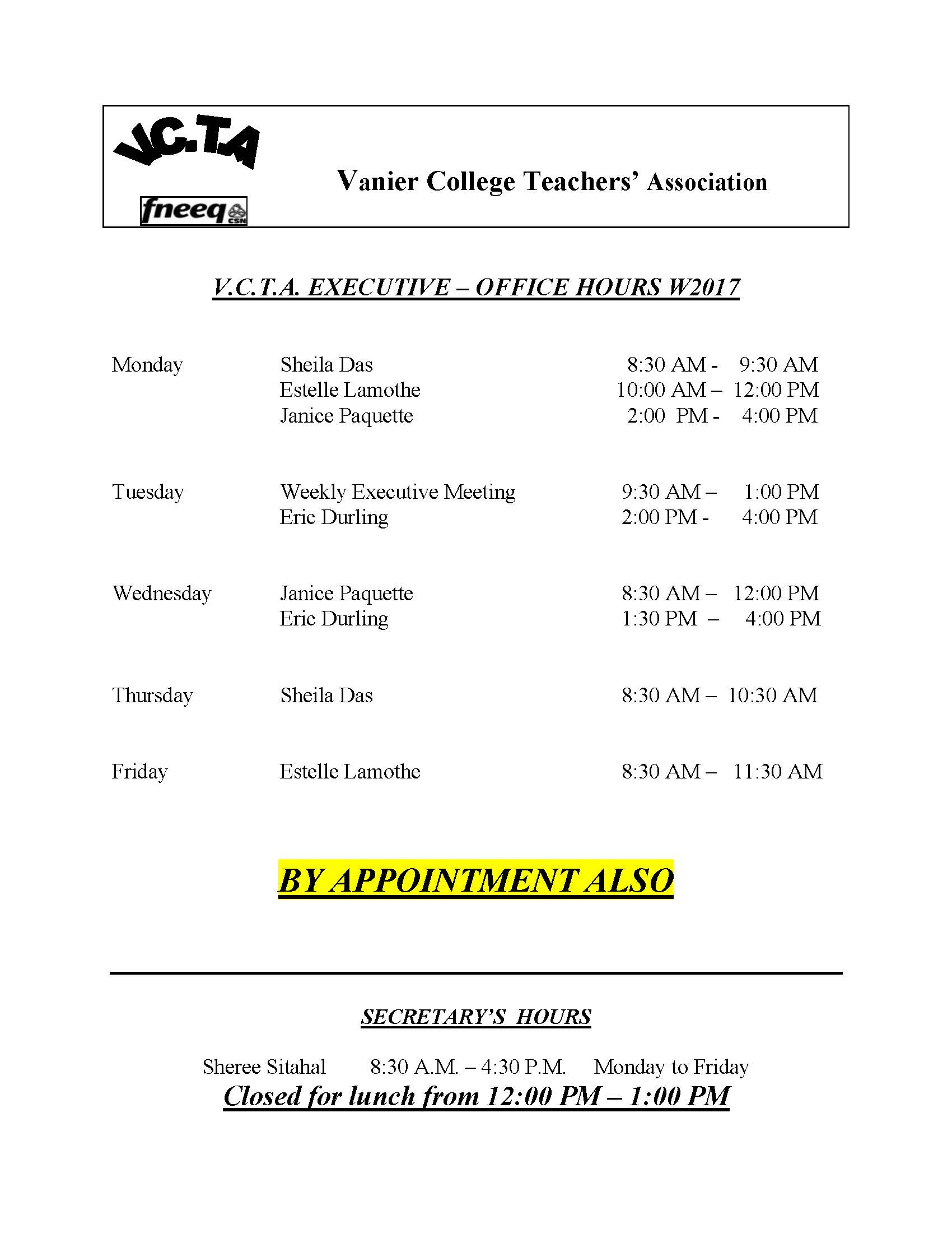 VCTA Exec Office Hours W2017